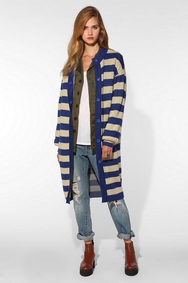 UO FaceHunter X Oversized Striped Cardigan