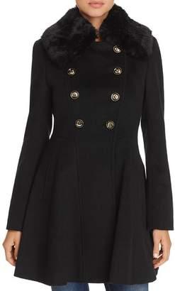 Via Spiga Double-Breasted Faux Fur-Trim Coat