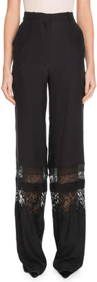 Altuzarra High-Waist Tonal Lace Panel Wide-Leg Silk Pants