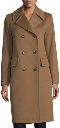 Fleurette Notched-Collar Double-Breasted Wool Coat
