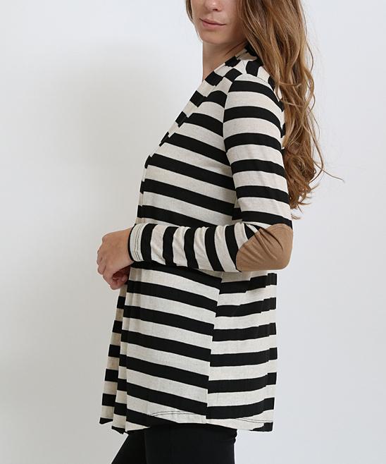 Beige & Black Stripe Elbow Patch Open Cardigan