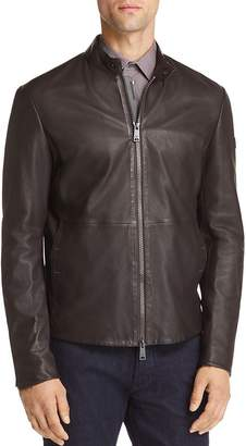 Giorgio Armani Leather Zip Up Jacket