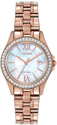 Citizen 21mm Rose Golden Bracelet Watch w/ Crystal Bezel & Iridescent Dial