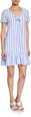 AVEC LES FILLES Striped Ruffle-Hem Shift Dress