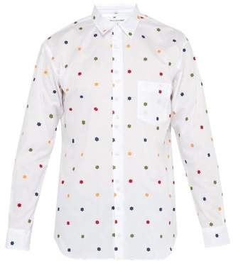 Comme des Garcons Flower Embroidered Cotton Twill Shirt - Mens - White