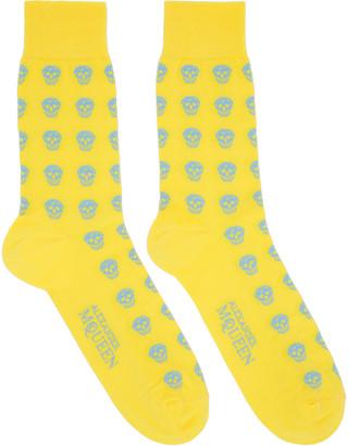Alexander McQueen Yellow Skull Socks $70 thestylecure.com