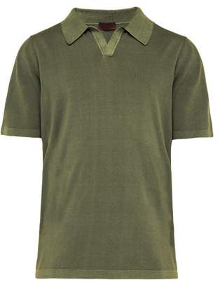 Altea Open Collar Cotton Polo Shirt - Mens - Green