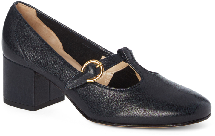 Amalfi By Rangoni Navy Buckle-Accent Ticinese Leather Pump