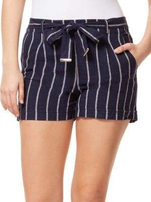 Dex Pinstripe Self-Tie Shorts