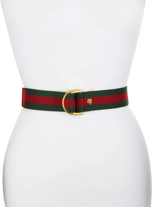 Gucci Tiger Buckle Web Belt, Green/Red