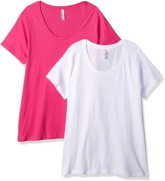 Clementine Apparel Women's Ladies Curvy Plus Size Premium Crew-Neck T-Shirt (2 Pack)