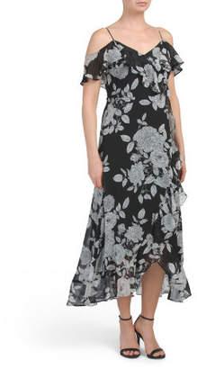Floral Cold Shoulder Maxi Dress