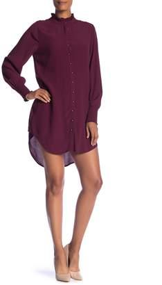 1 STATE 1.State Ruffled Mock Neck Shirt Dress