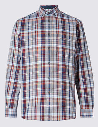 Blue HarbourMarks and Spencer Pure Cotton Checked Oxford Shirt with Pocket