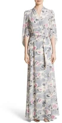 Co Floral Print Silk Crepe de Chine Maxi Wrap Dress