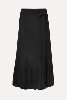 Ganni Addison Wrap-effect Swiss-dot Stretch-tulle Maxi Skirt - Black