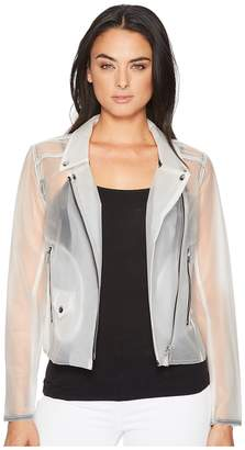 Blank NYC Frosted Plastic Moto in Frosted White Women's Coat