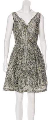Zac Posen Z Spoke by Animal Print Pleated Dress