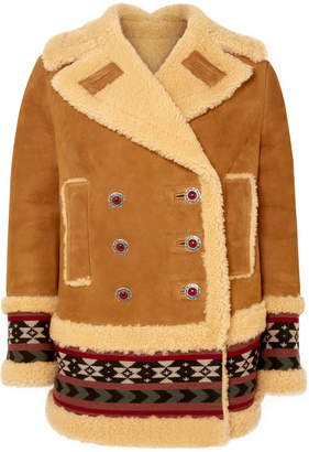 Etro Embroidered Shearling Coat - Beige