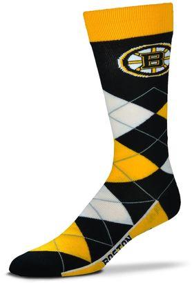 For Bare Feet Adult For Bare Feet Boston Bruins Argyle Line Up Crew Socks