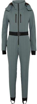 Fendi Belted Striped Stirrup Ski Suit - Black