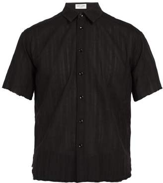 Saint Laurent Raw Edge Cotton Voile Shirt - Mens - Black