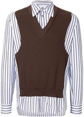 Maison Margiela vest-detail striped shirt