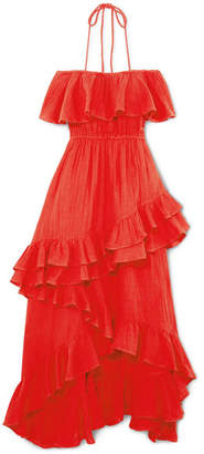 Rhode Resort - Salma Off-the-shoulder Ruffled Cotton-voile Maxi Dress - Red