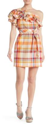 Trina Turk Reyes One Shoulder Plaid Print Waist Tie Dress