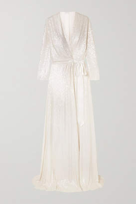 Jenny Packham Sophia Satin-trimmed Sequined Silk-chiffon Wrap Gown - Ivory
