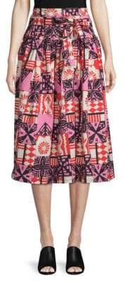 Marc Jacobs Batik Belted Midi Skirt