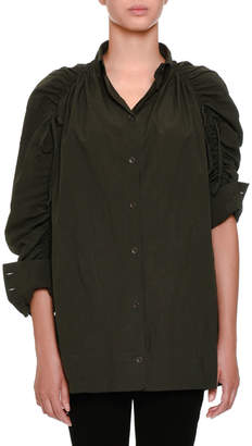 Tomas Maier Ruched Button-Front Top