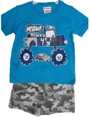 Buster Brown Little Boys Blue Gray Monster Truck Print Camo 2 Pc Shorts Set