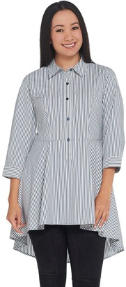 Joan Rivers Classics Collection Joan Rivers Petite Length Striped Peplum Shirt with Hi-Low Hem