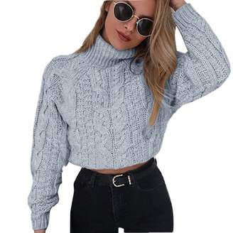 78615e6a1d6 Hunzed women sweater Short Style Long Sleeve high Collar Sexy Knit Sweater