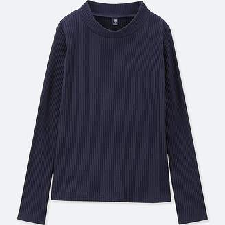 Uniqlo Girl's Ribbed High-neck Long-sleeve T-Shirt