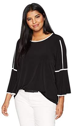 Calvin Klein Women's Plus Size Bell Sleeve Top With Piping