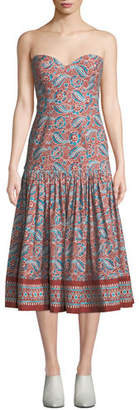 Veronica Beard Fiore Printed Sweetheart Midi Dress