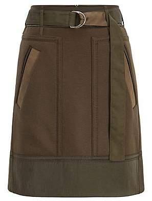 HUGO BOSS Military-inspired A-line miniskirt in an Italian wool blend