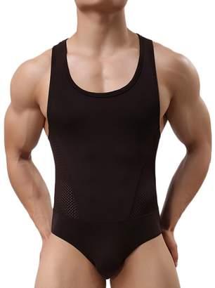 Yuntown Men Jumpsuit Underwear Sportswear Singlet Leotard Bodysuit -L30