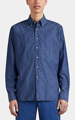 Barneys New York Men's Paisley Cotton Poplin Button-Down Shirt - Blue