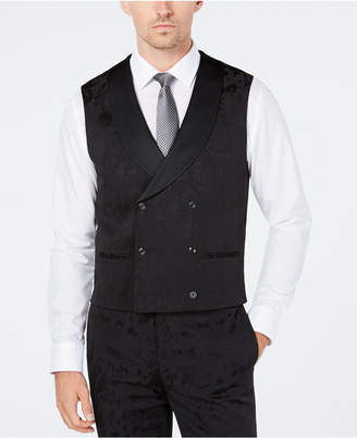 Tallia Men's Slim-Fit Tonal Black Bird Double-Breasted Suit Vest
