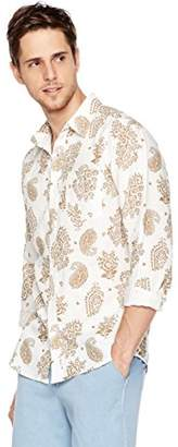 Isle Bay Linens Men's Long Sleeve Paisley Prints Standard Woven Hawaiian Shirt M