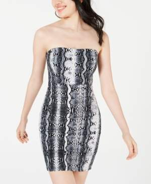 Jump Juniors' Strapless Snake-Embossed Bodycon Dress