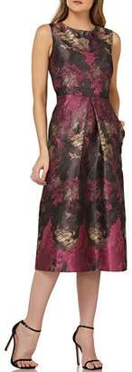 Kay Unger New York Abstract-Print Sleeveless Cocktail Dress with Inverted Box Pleat