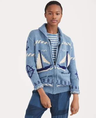 Ralph Lauren Sailboat Shawl Sweater
