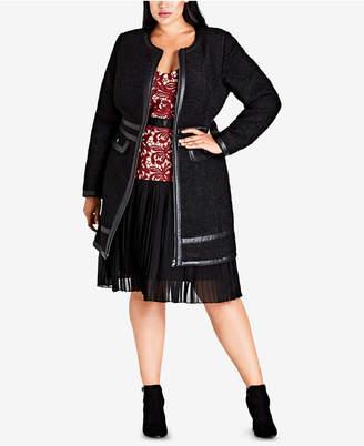 City Chic Trendy Plus Size Faux-Leather-Trim Coat