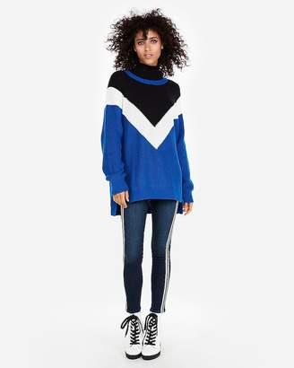 Express Chevron Shaker Knit Crew Neck Sweater