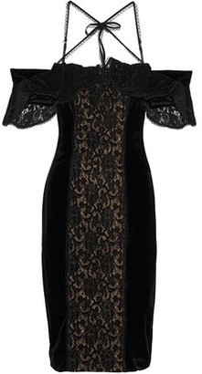 Marchesa Cold-Shoulder Lace-Paneled Velvet Dress