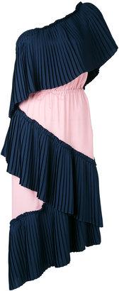 single shoulder pleated dress